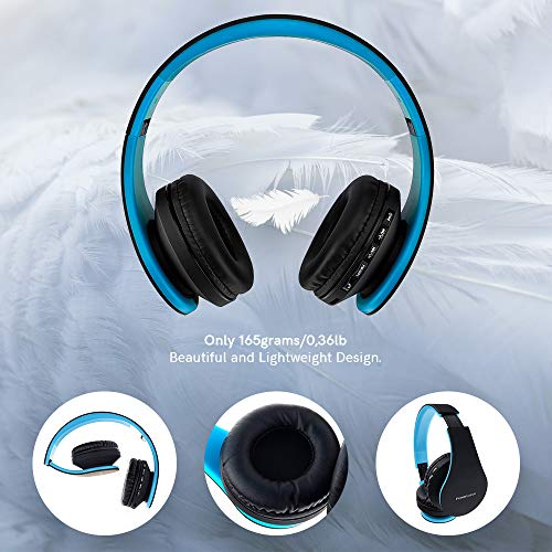 PowerLocus Wireless Bluetooth Over-Ear Stereo Foldable Headphones, Wired Headsets with Built-in Microphone for iPhone, Samsung, LG, iPad (Black/Blue)
