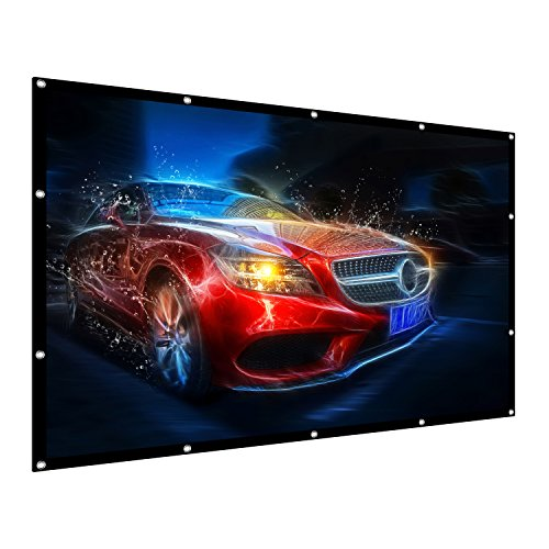 Projection Screen, 100' 16:9 HD Outdoor Indoor Portable Folding Movie Screen Support Double Sided Projection for Home Theater Presentation Education Public Display etc (New)