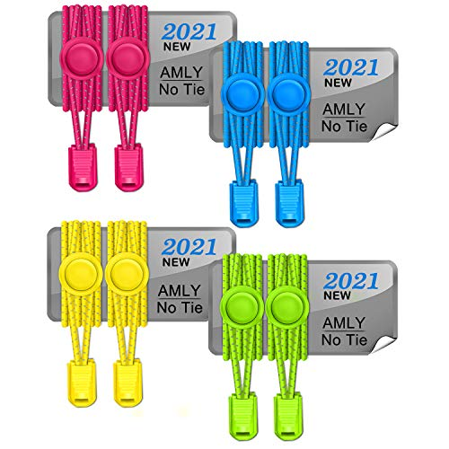 AMLY 4 Pairs of Elastic No Tie Shoelaces, Upgraded Lock, Reflective Shoe Laces for Kids and Adults (Hot Pink-Sky Blue-Lemon Yellow-Neon Yellow)