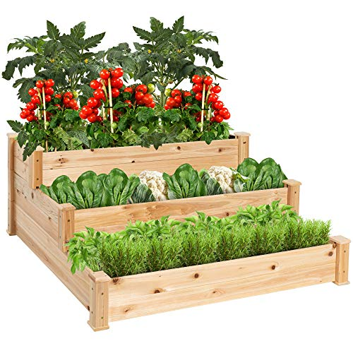 Best Choice Products 3-Tier Fir Wood Raised Garden Bed Planter Kit for Plants, Herbs, Vegetables, Outdoor Gardening w/Stackable & Flat Arrangement, Easy Assembly - Natural