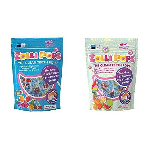 Zollipops Clean Teeth Lollipops 52 Ounces and Clean Teeth Lollipops Tropical Flavors 104 Ounces