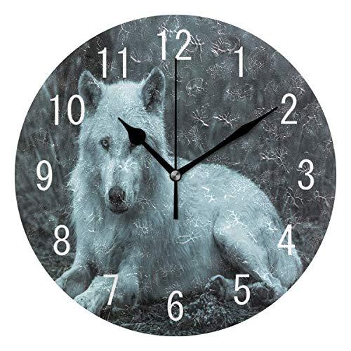 BFNBRLOR Home Decor - Reloj de pared redondo de acrílico con diseño de lobo blanco de 22,8 cm, sin garrapatas, silencioso, para sala de estar, cocina, dormitorio