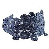 Sharplace ヘッドバンド カチューシャヘアバンド レディース フラワー ワイド 刺繍 リボン 全8選択し - 青