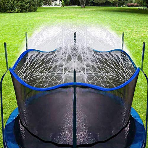 Bobor Trampoline Sprinkler for Kids, Outdoor Trampoline Backyard Water Park Sprinkler Fun Summer Outdoor Water Toys for Boys Girls (Blue, 39ft)