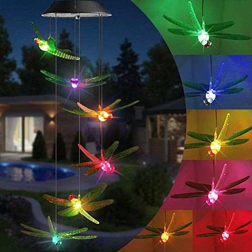 TOPofly Wind Chimes,Solar Dragonfly String Light Color Changing LED Lamp Waterproof Wind Chimes Lights Hanging Decorative Patio Lights for Garden, Patio and Yard