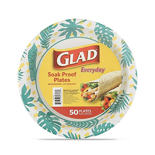 Glad Disposable Paper Plates with Palm Leaves Design, 8.5 Inch Paper Plates | Round Paper Plates for Everyday Use | Cut Proof, Soak Proof Disposable Plates from Glad, 50 Count
