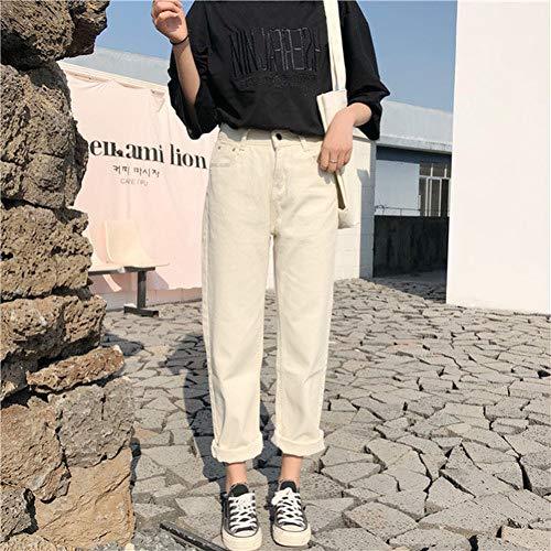 YSDSBM Pantalones Mujer Recto Sólido Cintura Alta Ocio Todo-fósforo Pantalones Largos Mujeres Cremallera Suelto Estudiantes