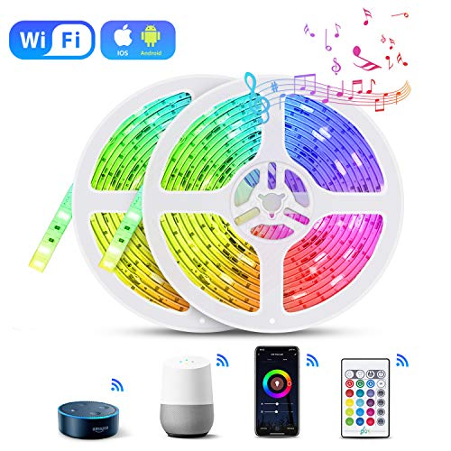 10M WIFI Striscia LED Alexa, TASMOR Smart Striscia LED RGB Impermeabile Compatibile con Alexa Echo e Google Home, Smart Nastri LED con Telecomando IR