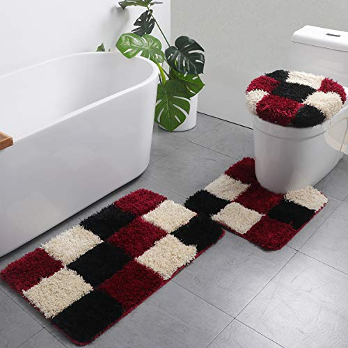 LAOSHIZI Sanft rutschfest Einfarbig Badteppich 3er-Pack Badteppiche Set U-Form konturiert WC-Matte Teppiche Deckelabdeckung Braun