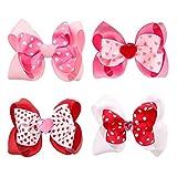 WBTY 4 lazos de San Valentín, 4 pulgadas, para el Día de San Valentín, lazos de doble capa, pasadores para el pelo, lazos de cocodrilo, horquillas para mujeres y niñas