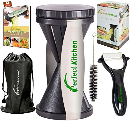 iPerfect Kitchen Envy Spiral Slicer - Best Vegetable Spiralizer, Peeler, Shredder, Zucchini Spaghetti Pasta Maker You'll Ever Use - Makes Veggie Noodles and Cut Vegetables in Minutes