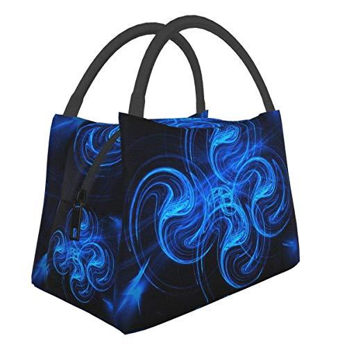Bolsa de almuerzo con luces de neón negra y azul, bolsa más fresca, bolsa de asas para mujer, lonchera con aislamiento, bolsa de almuerzo térmica resistente al agua para mujeres / picnic / pesca