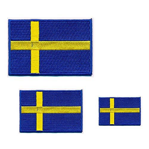 3 Schweden Flaggen Sweden Flags Stockholm Sverige Patch Aufnäher Aufbügler 0651