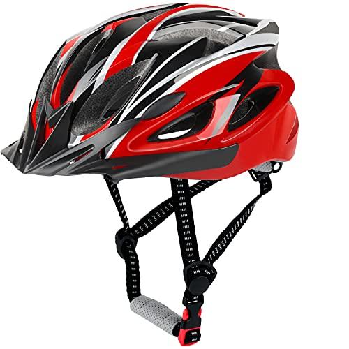 Casco de Bicicleta, Casco de Ciclismo, Casco Bicicleta Adulto Montaña, Visera y Forro Desmontable, Cascos Bicicleta Carretera para Hombres Mujeres Adultos (56-60 CM) (Rojo)