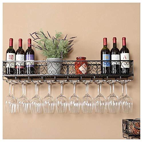 GAXQFEI Cocina Copa de Vino Alenamiento Rack Multifuncional Montado en Pared Estante de Vino M Decorativo Rack Anti-Rust Rack Estante de Vino Chapado con Hierro para Barras, Restaurantes, Cocinas (N