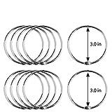 MROCO Loose Leaf Binder Rings 3 Inch 12 Pack, Nickel Plated Steel Binder Rings, Keychain Key Rings, Metal Book Rings, Metal Rings for Index Cards, Silver, for School, Home, or Office