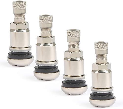 QLOUNI Lot de 4 valves de pneu de voiture invisibles en acier avec 4 capuchons anti-poussière pour roues de camion Ar...