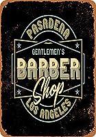 Shimaier 壁の装飾 ブリキ 看板メタルサイン Pasadena Gentlemen's Barber Shop ウォールアート バー カフェ 20×30cm ヴィンテージ風 メタルプレート