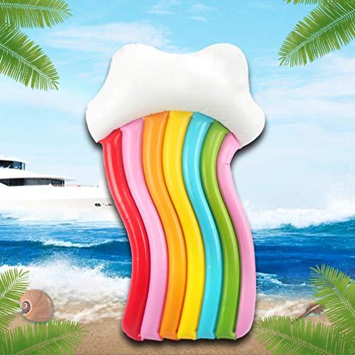 LQH Nadar Anillo Flotante Fila del Arco Iris Anillo de natación Nubes Coloridas sillón Inflable Flotante Anillo con inflador