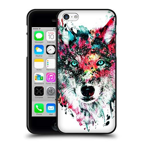 Head Case Designs Officiel Riza Peker Loup Animaux Coque Noir en Gel Doux Compatible avec Apple iPhone 5 / iPhone 5s / iPhone Se 2016