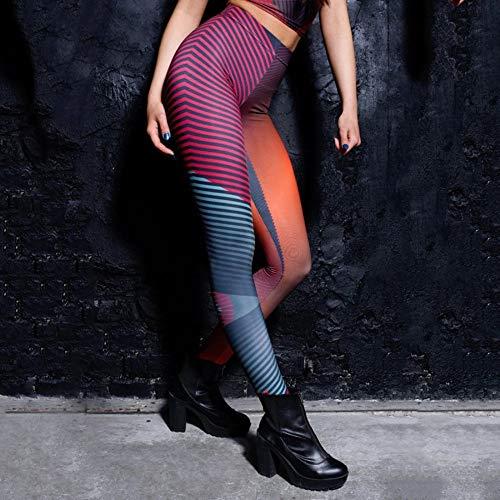 PKYGXZ Rot Blau Gestreifte Nähte Leggings Farbverlauf Punk Stretchy Hose Casual Pants Damen Neuheit Fitness Leggings Strumpfhose
