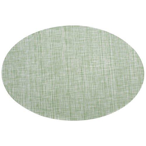 Treestar ovale en PVC Table Tapis antidérapant en bambou veines Tissage Napperon Désir Isolation Drapeau de table sur mesure pour les fêtes de table de salle à manger, PVC, vert clair, 45 x 30 cm