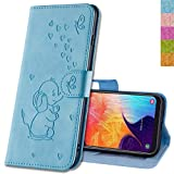 MRSTER Honor 8X Hülle Flip Hülle Lederhülle Schutzhülle Klapphülle Leder Handytasche Dünn Handy Schutzhülle Tasche Cover Geldbörse Etui für Huawei Honor 8X. RZ Elephant Blue