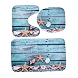 Mdsfe 3 Unids/Set Alfombrilla de baño Ocean Ocean Underwater World Alfombrilla de baño Antideslizante Alfombra de baño de Felpa de Coral Alfombrillas de baño Lavables Alfombra de baño - 4,