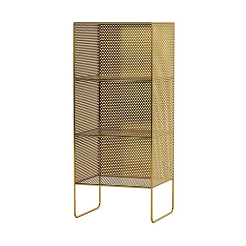 Ablagegestelle Regal Schmiedeeisen Multi-Layer-Lagerregal Etage Schlafzimmer Nachttisch Magazin Regal Eckregale (Color : Gold, Size : 35 * 30 * 84cm)