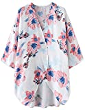 Blusa Larga Tops Blusa Estampado de Flores Abrigo Frontal Kimono Abrigos Chaquetas Blanco Floral M