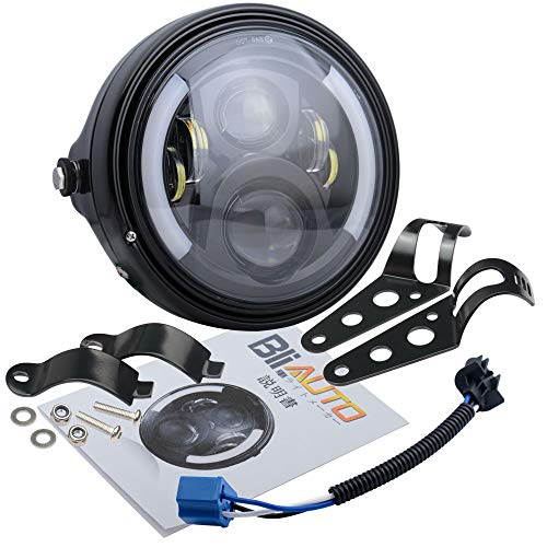 BLIAUTO 7インチled ヘッドライト 新品 ハーレーヘッドライト シェル 付き 7インチledヘッドライト 仕様 バイクCB400SF ホーネット250 CBX400 VTR250 ジェイド CB250F 用超高輝度 Hi/Lo切替型 イカリング ウインカー DRL機能 付き 33-42mm径 ハーレー ホンダ スズキ カワサキ ヤマハなど改装用 汎用 フロントフォークに適用 1年品質サービス