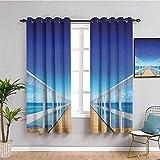 Nileco Cortinas de Opacas - Azul mar puente de madera paisaje - 160x160 cm - 3D Impresión Digital con Ojales Aislamiento Térmico - para Sala Cuarto Comedor Salon Cocina Habitación