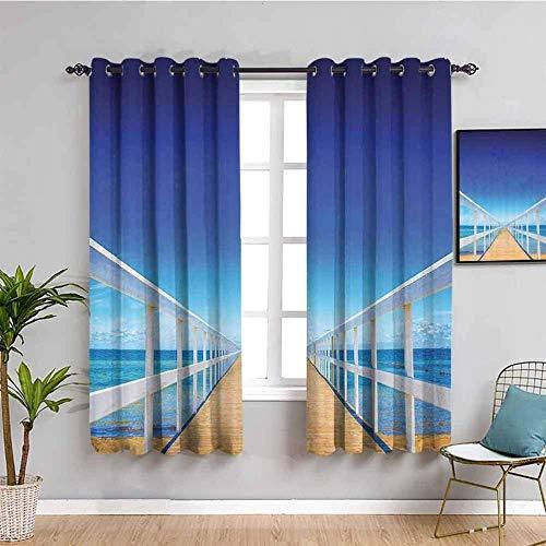 Nileco Cortinas de Opacas - Azul mar puente de madera paisaje - 234x183 cm - 3D Impresión Digital con Ojales Aislamiento Térmico - para Sala Cuarto Comedor Salon Cocina Habitación