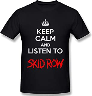 Classic Men's T-Shirt Keep Calm and Listen to Sk-id Row Fashion Stretch Round Neck Short Sleeve Black