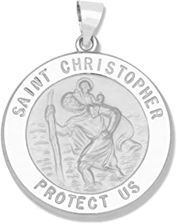 14k Yellow Gold and White Gold Polished Saint Christopher Pendant Medals