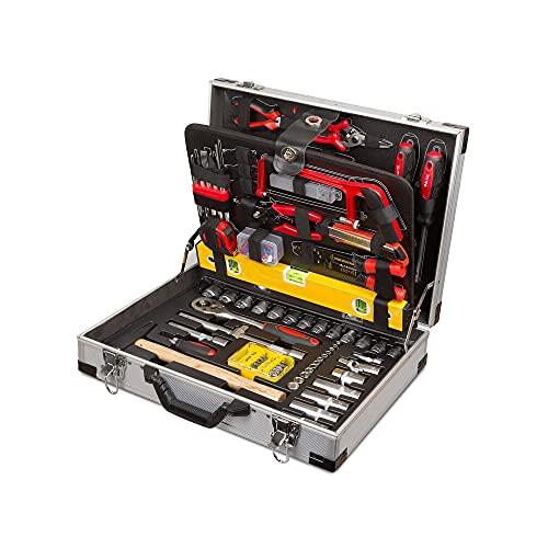 Maletín de herramientas de 139 lg, en maletín de aluminio, maletín de herramientas, trolley para bricolaje, puntas, sierra, alicates, etc.