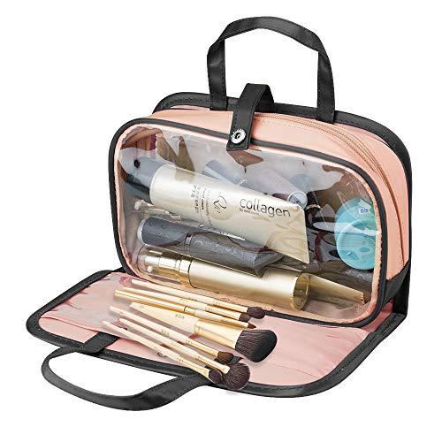 SPAHER Unisex Reise Kulturtasche Kulturbeutel Beauty Case Kosmetiktasche Toilettentasche Waschtasche Dusch-Tasche Makeup Tasche 2 in 1 Geschenk für Kinder Herren Damen Schwarz + Pink