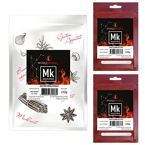 Natriumalginat & Calciumlactat Molekulare Küche Fruchtkaviar - Set, Vorteilspack. Einfache Herstellung! 1 Beutel Natriumalginat 250g & 2 Beutel Calciumlactat je 100g.