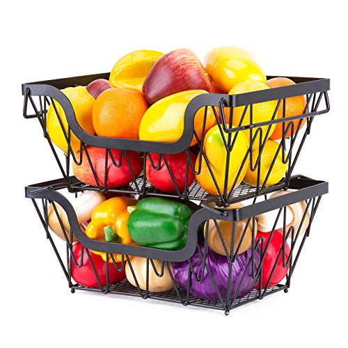 Home Stacking Wire Market Baskets, ESEOE Fruit Vegetable Produce Metal Storage Bin for Counter Top, Stackable Wire Baskets Shelves For Kitchen Cabinets, Pantry, Closets, Bathrooms (2 Pack)