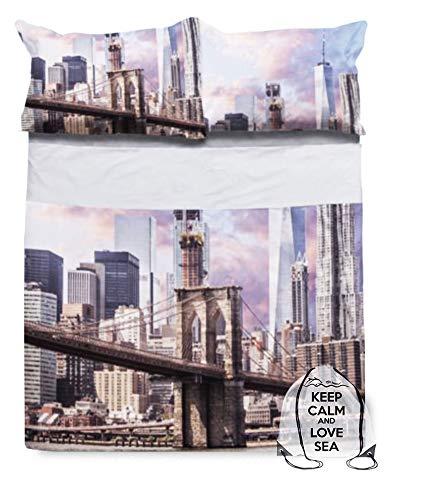Tex family Juego completo de sábanas con impresión digital, colcha New York con saco Keep para cama de matrimonio de 2 plazas