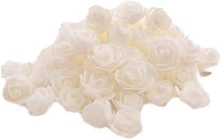 50X Toruiwa Kunstblumen Künstliche Deko Blumen Kleine Blume Mini Rose für Hochzeitsdeko Karten DIY Basteln Haar Bogen Hut Handwerk Weiß