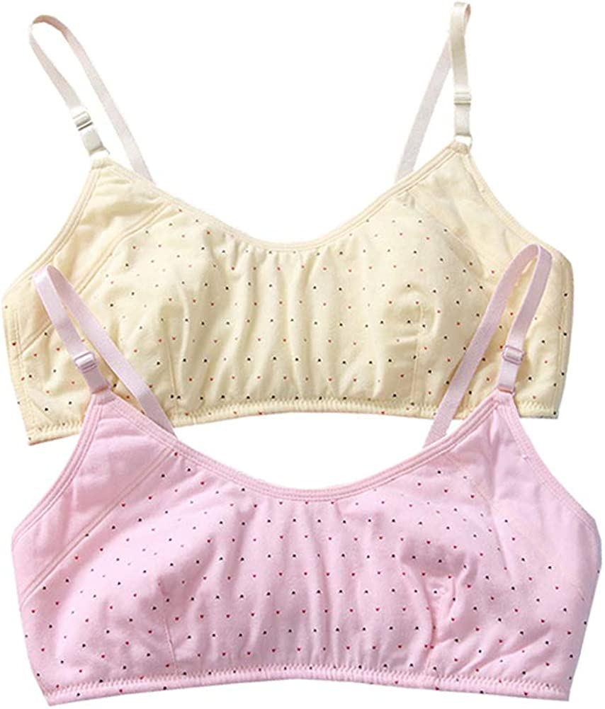 YUMILY Age 10-16 Girl's Spaghetti Straps Training Bra with Clasp Wirefree Cotton Bralette