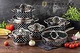 Edënbërg Classic Line – Juego de ollas con tapa – Base sándwich – Batería de cocina de acero inoxidable – inducción – Apto para lavavajillas – 12 piezas