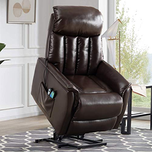 Altrobene Electric Power Lift Recliner Chair for Elderly, Overstuffed Living Room Chair, Ergonomic Lounge Chair, 8 Vibration Massage, Remote Controls, Breathable Bonded Leather, Brown