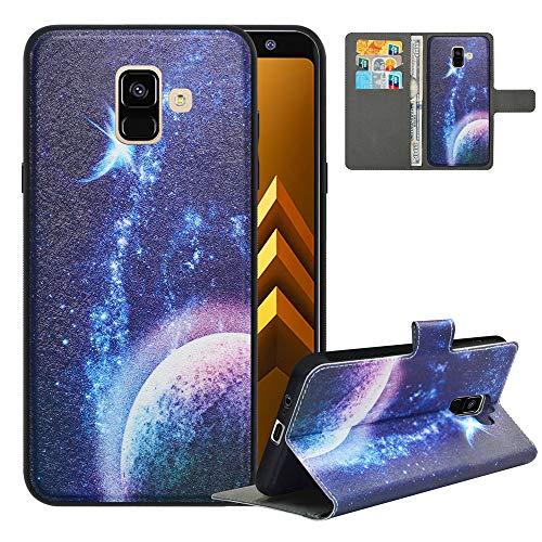 LFDZ Funda Samsung A8 2018,Fundas Galaxy A8 2018 de [2 en 1,Desmontable] PU Cuero Billetera,[Bloqueo de RFID] Libro Antigolpe Magnético Soporte Case Carcasa para Samsung Galaxy A8 2018,Planet