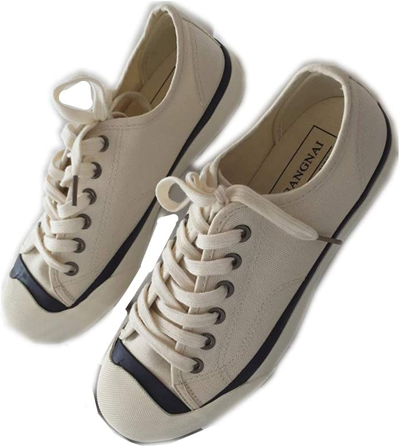 Women's Casual Wild lace with White shoes Flat Low Cut Breathable Canvas shoes