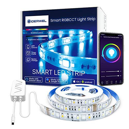 GIDERWEL Kit de tira de luces LED WiFi RGBWW,compatible con Alexa/Google Assistant,banda de luz LED de 6 pines con control por voz y aplicación,2 m,luz de ambiente con cambio de color
