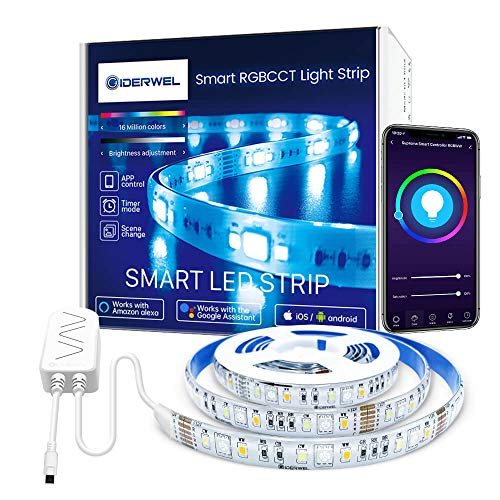GIDERWEL Smart WiFi RGBWW LED Streifen 2m Set,APP/Sprachsteuerung Dimmbar RGB Warmweiß Kaltweiß LED Lichtband(2700K-6000K),90LEDs/m,heller, Kompatibel mit Alexa/Google Assistant
