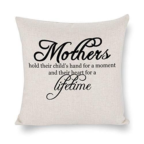 Funda de cojín con cita de la madre, feliz día de la madre, funda de almohada, lino rústico decorativo, almohada lumbar decorativa para silla, habitación, sofá, coche, decoración del hogar, regalo de inauguración de la casa, 45 x 45 cm ljjjzm7r541j6