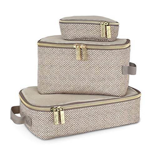 Itzy Ritzy Packing Cubes - Set of 3 Packing Cubes or Travel Organizers; Each Cube Features a Mesh Top, Double Zippers and a Fabric Handle; Taupe
